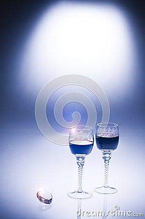 Valentine s day luxury diamond and wine