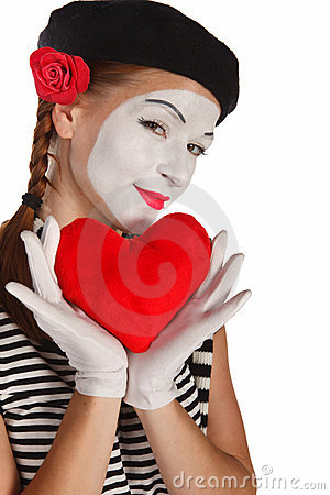 Valentine s day mime portrait
