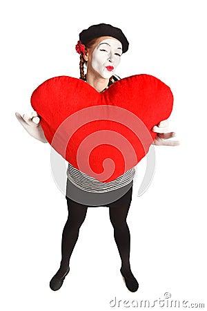 Valentine's day mime portrait