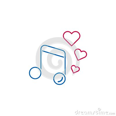 Valentine`s day, music, hearts icon. Can be used for web, logo, mobile app, UI, UX Vector Illustration