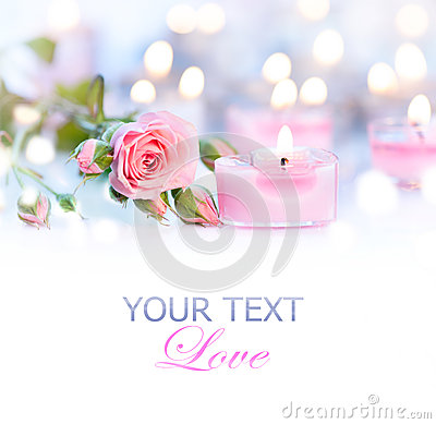 Free Valentine S Day. Pink Heart Shaped Candles And Roses Stock Photography - 49402472