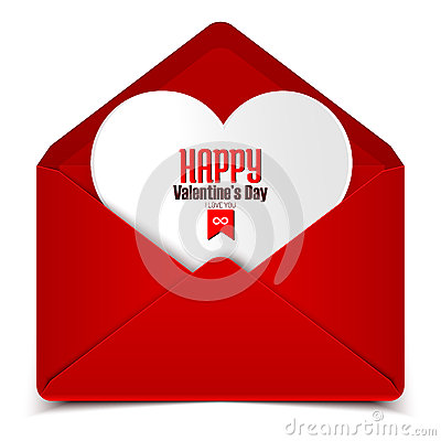 Free Valentine S Day Postcard, Vector Illustration Of Red Envelope With White Heart Stock Image - 48244961