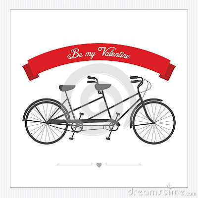 Valentine s Day postcard with vintage tandem bicycle