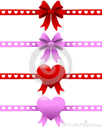 Free Valentine S Day Ribbons Set Stock Photography - 27738992
