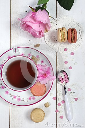 Free Valentine S Day: Romantic Tea Drinking With Macaroon And Hearts Stock Image - 48933801