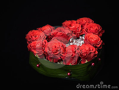 Valentine s day rose decoration bouquet on black