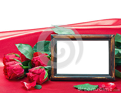 Valentine s day roses and photo frame with space for text