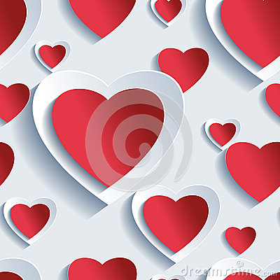 Free Valentine S Day Seamless Pattern, 3d Hearts Royalty Free Stock Photos - 49565558