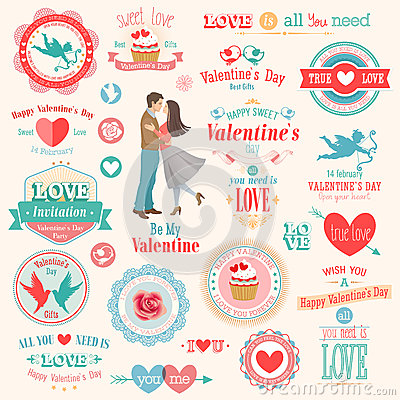 Free Valentine`s Day Set Stock Photography - 28740772