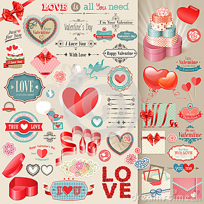 Free Valentine`s Day Set. Stock Photos - 28740953
