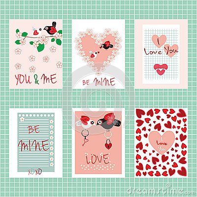Happy Valentine`s day. Set of cards. Love inscriptions and elements ...