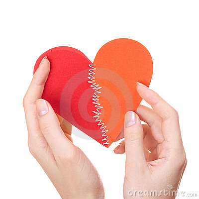 Valentine s day stitched heart in woman s hands