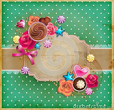 Valentine`s Day vintage frame