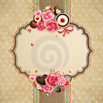 Free Valentine`s Day Vintage Lace Card Stock Photography - 22916922