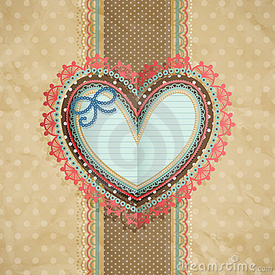 Valentine`s Day vintage lacy card with heart