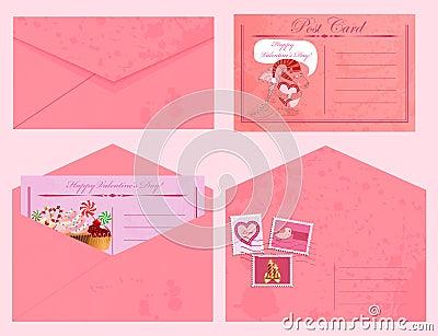 Valentine s day vintage postcards and envelopes.