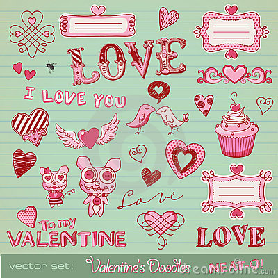 Free Valentine S Doodles Royalty Free Stock Photography - 17979717