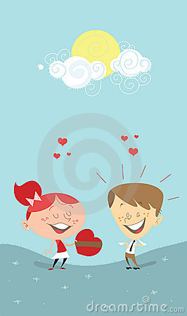Valentine s heart, girl giving a gift to a boy