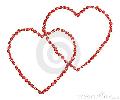 Valentine s hearts made of pomegranate seeds