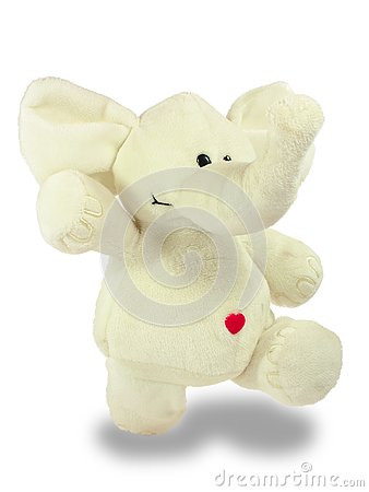 Free Valentine`s Holiday, Red Heart, White Plush Elephant, Walks Royalty Free Stock Photography - 136077857