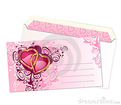 Valentine s postcard and envelope / vector