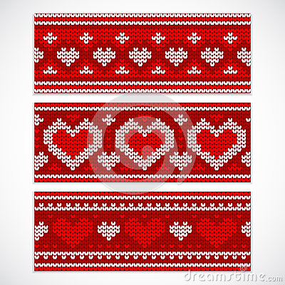Free Valentine S Seamless Knitted Banners With Hearts Stock Photo - 48883410