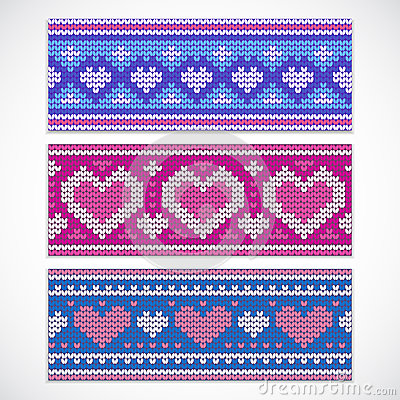 Free Valentine S Seamless Knitted Banners With Hearts Royalty Free Stock Image - 48991476