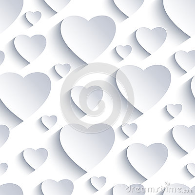 Free Valentine Seamless Background With White-grey 3d Hearts Stock Photography - 84601952