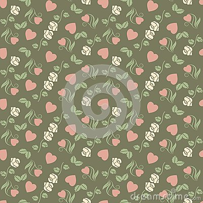Valentine seamless pattern with hearts and roses