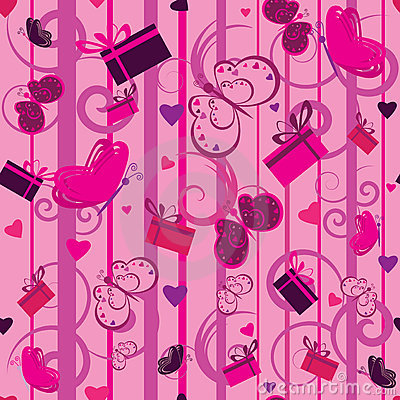 Free Valentine Seamless Pattern With Gifts And Hearts Royalty Free Stock Images - 17574699