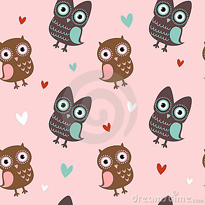 Free Valentine Seamless Texture With Owls And Hearts Stock Image - 22674531