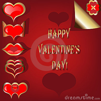 Valentine set of red and golden hearts