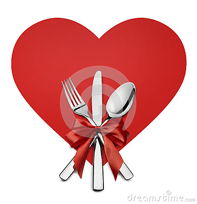 Free Valentine Silverware On Red Heart Shape Design Element Isolated Royalty Free Stock Images - 65081169