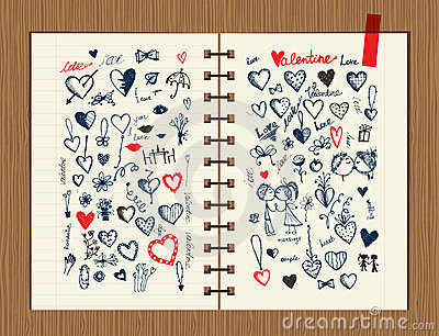 Valentine sketch on notebook sheet for your design
