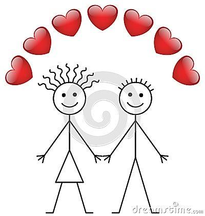 Valentine stick boy and girl