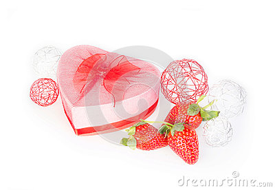 Valentine strawberry and heart gift box