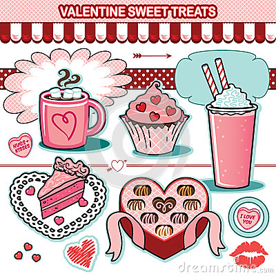 Free Valentine Sweet Treats Illustration Collection Chocolates Cupcake Candy Hearts Cake Royalty Free Stock Photos - 66095408