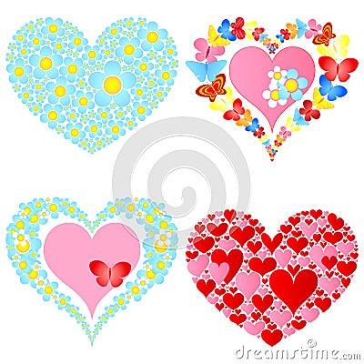 Valentine symbolic hearts