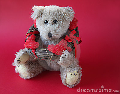 Valentine teddy bear with wreath