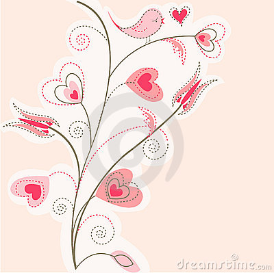 Valentine tree background, pink hearts