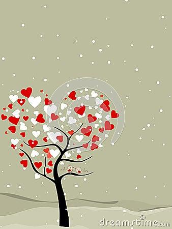 Valentine tree with hearts & love birds