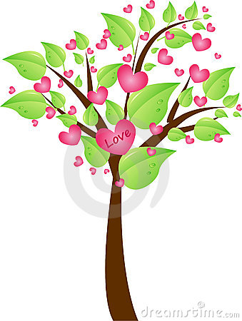 Valentine tree with leaves and hearts