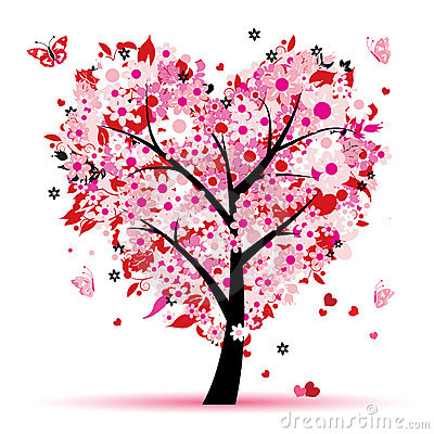 Valentine tree, love, leaf from hearts Vector Illustration