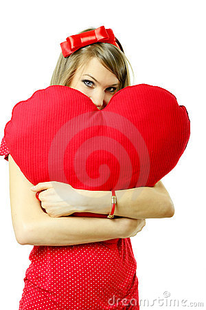 Valentine woman with heart