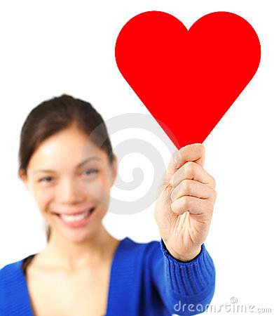 Free Valentine Woman Holding Heart Card / Sign Royalty Free Stock Images - 12297309