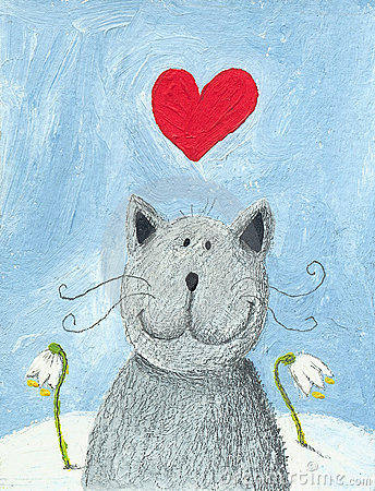 Valentines влюбленности дня кота