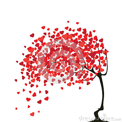 Valentines abstract tree with hearts