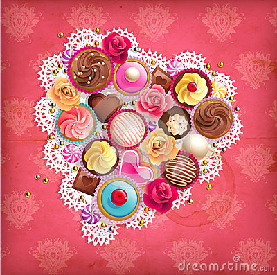 Valentines background with heart-shaped napkin and sweets.