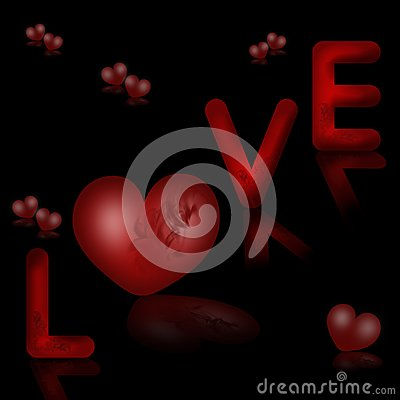 Valentines background with word love and hearts