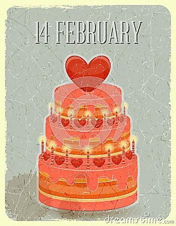 Valentines Cake on Grunge Background